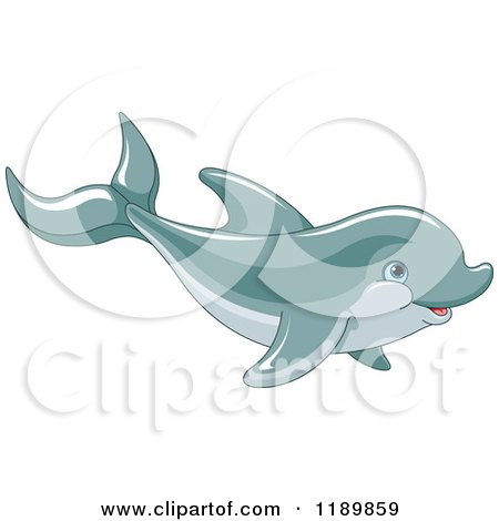 Cartoon of a Cute Happy Dolphin Swimming - Royalty Free Vector Clipart by Pushkin