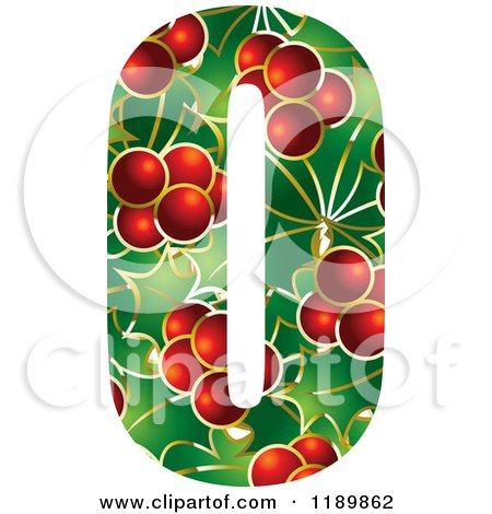 Clipart of a Christmas Holly and Berry Capital Letter O - Royalty Free Vector Illustration by Lal Perera