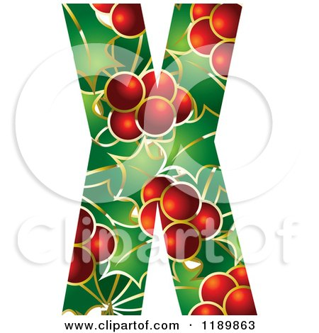 Clipart of a Christmas Holly and Berry Capital Letter X - Royalty Free Vector Illustration by Lal Perera