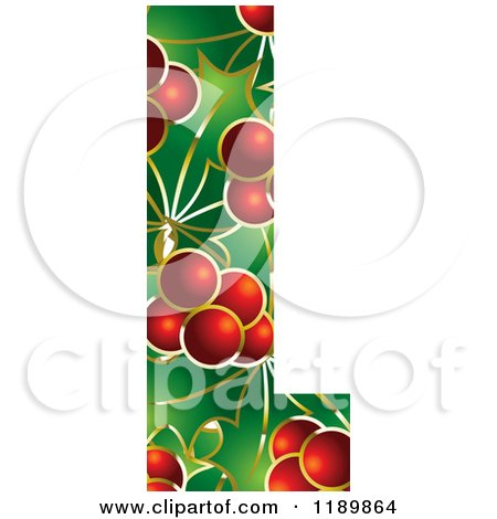 Clipart of a Christmas Holly and Berry Capital Letter L - Royalty Free Vector Illustration by Lal Perera