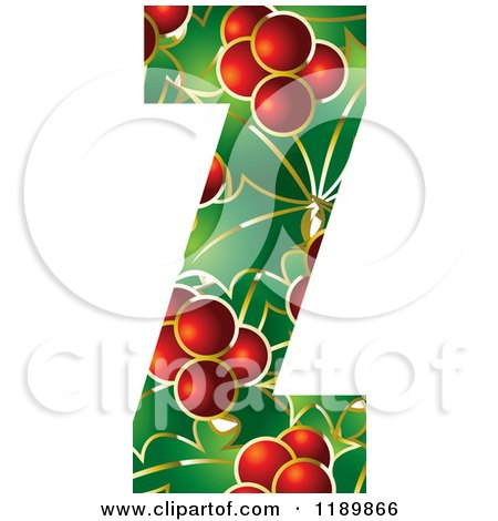 Clipart of a Christmas Holly and Berry Capital Letter Z - Royalty Free Vector Illustration by Lal Perera