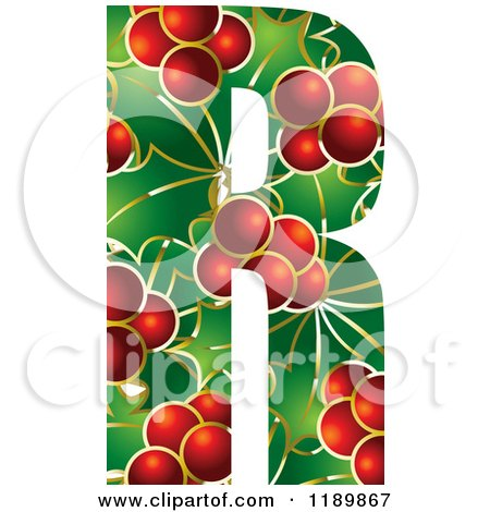 Clipart of a Christmas Holly and Berry Capital Letter R - Royalty Free Vector Illustration by Lal Perera