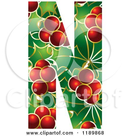 Clipart of a Christmas Holly and Berry Capital Letter N - Royalty Free Vector Illustration by Lal Perera