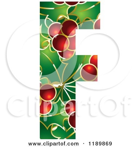 Clipart of a Christmas Holly and Berry Capital Letter F - Royalty Free Vector Illustration by Lal Perera