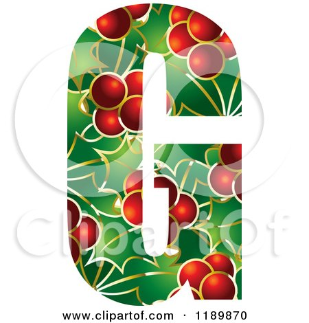 Clipart of a Christmas Holly and Berry Capital Letter G - Royalty Free Vector Illustration by Lal Perera