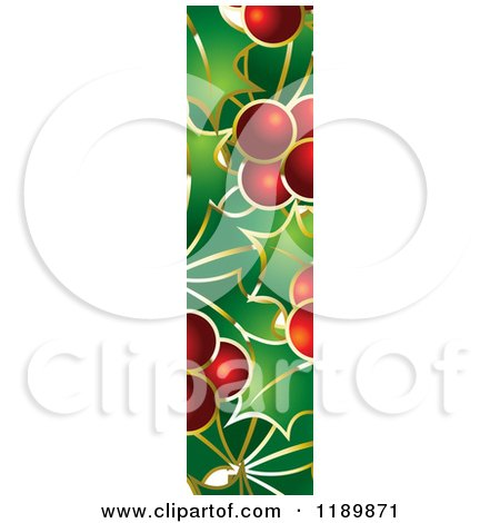 Clipart of a Christmas Holly and Berry Capital Letter I - Royalty Free Vector Illustration by Lal Perera