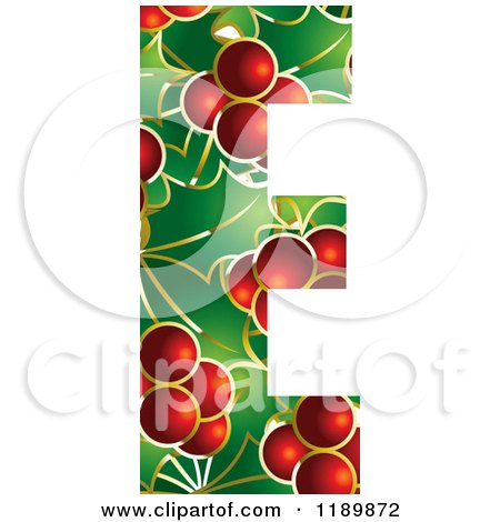 Clipart of a Christmas Holly and Berry Capital Letter E - Royalty Free Vector Illustration by Lal Perera