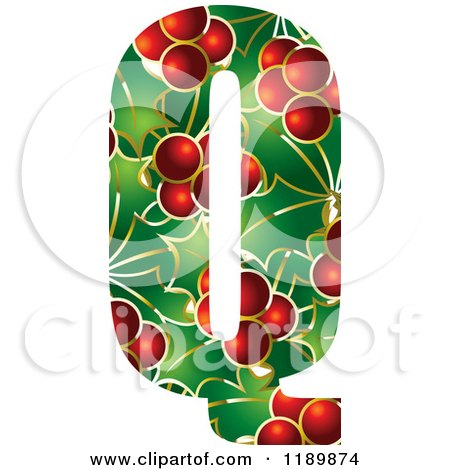 Clipart of a Christmas Holly and Berry Capital Letter Q - Royalty Free Vector Illustration by Lal Perera