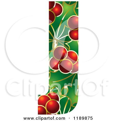 Clipart of a Christmas Holly and Berry Capital Letter J - Royalty Free Vector Illustration by Lal Perera