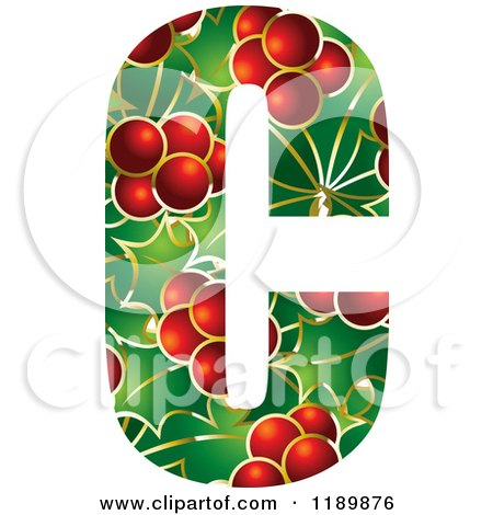 Clipart of a Christmas Holly and Berry Capital Letter C - Royalty Free Vector Illustration by Lal Perera