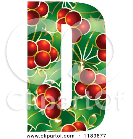 Clipart of a Christmas Holly and Berry Capital Letter D - Royalty Free Vector Illustration by Lal Perera