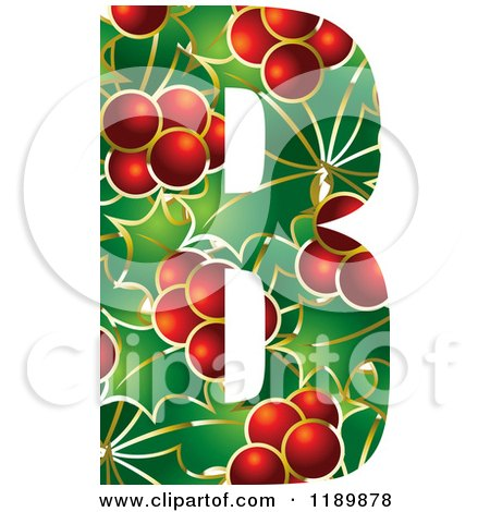 Clipart of a Christmas Holly and Berry Capital Letter B - Royalty Free Vector Illustration by Lal Perera
