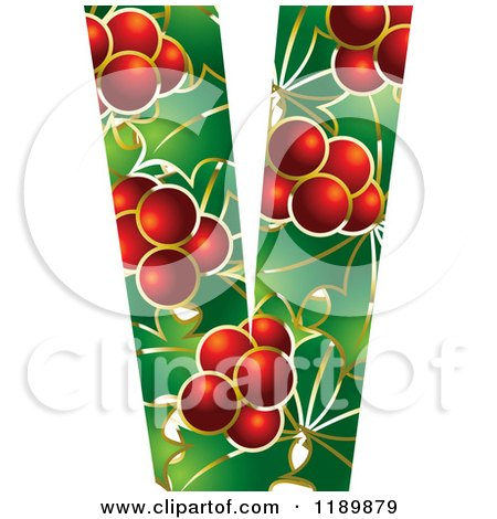 Clipart of a Christmas Holly and Berry Capital Letter V - Royalty Free Vector Illustration by Lal Perera