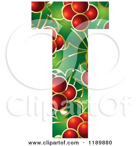 Clipart of a Christmas Holly and Berry Capital Letter D - Royalty ...
