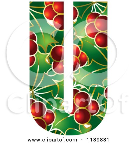 Clipart of a Christmas Holly and Berry Capital Letter U - Royalty Free Vector Illustration by Lal Perera
