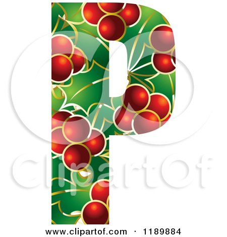 Clipart of a Christmas Holly and Berry Capital Letter P - Royalty Free Vector Illustration by Lal Perera