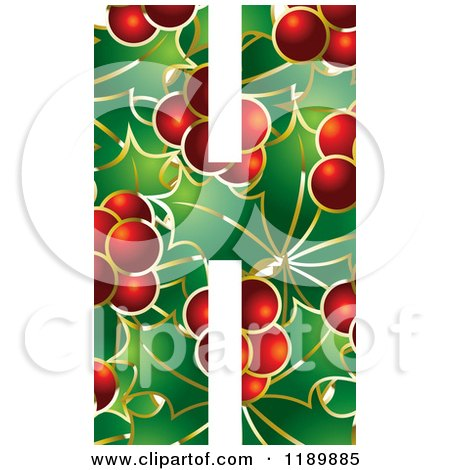 Clipart of a Christmas Holly and Berry Capital Letter H - Royalty Free Vector Illustration by Lal Perera