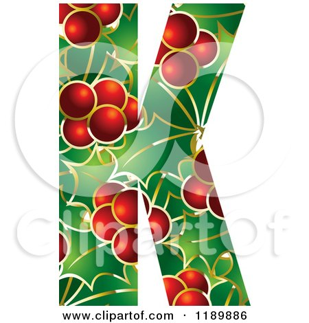 Clipart of a Christmas Holly and Berry Capital Letter K - Royalty Free Vector Illustration by Lal Perera