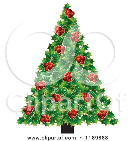Clipart of a Holly Berry Christmas Tree - Royalty Free Vector Illustration by Lal Perera