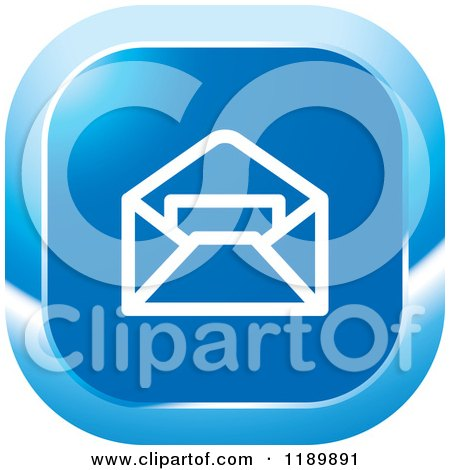 Clipart of a Blue Mail Icon - Royalty Free Vector Illustration by Lal Perera