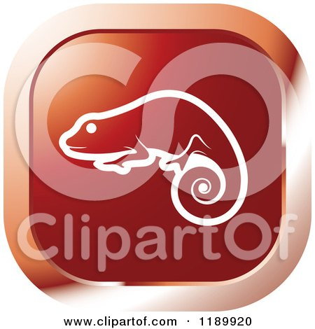 Clipart of a Red Chameleon Lizard Icon - Royalty Free Vector Illustration by Lal Perera