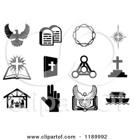 Cartoon of Black and White Christian Icons 3 - Royalty Free Vector ...