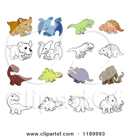 Cartoon of Dinosaurs and Prehistoric Animals in Color and Black and White - Royalty Free Vector Clipart by AtStockIllustration