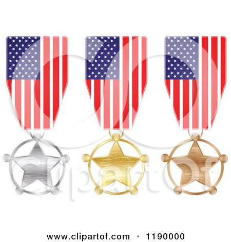 Clipart of Silver Gold and Bronze American Star Medals and Flag Ribbons - Royalty Free Vector Illustration by Andrei Marincas