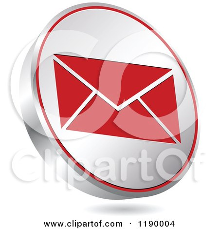 Clipart of a Floating Round Silver and Red Envelope Icon - Royalty Free Vector Illustration by Andrei Marincas