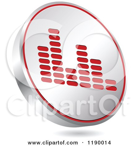 Clipart of a Floating Round Silver and Red Equalizer Icon - Royalty Free Vector Illustration by Andrei Marincas