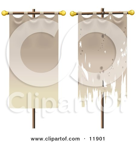 Two Banners, One Old, One New Clipart Illustration by AtStockIllustration