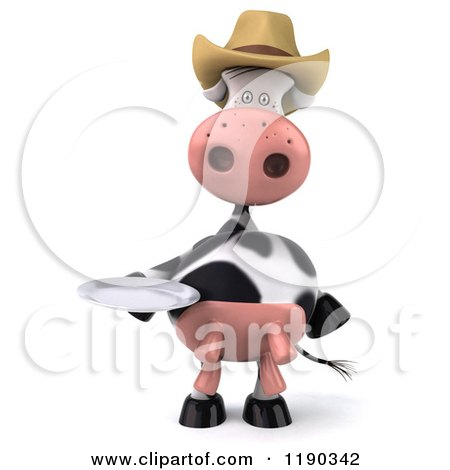 Clipart of a 3d Cow Mascot Wearing a Cowboy Hat and Holding a Plate - Royalty Free CGI Illustration by Julos
