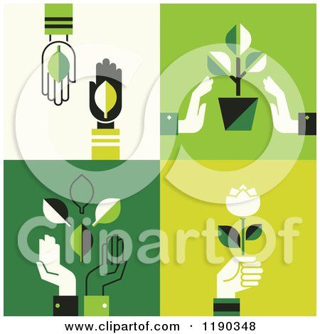 Clipart of Hands with Green Leaves Plants and Flowers - Royalty Free Vector Illustration by elena