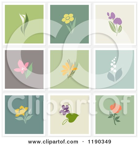 Clipart of Beautiful Flower Designs on Different Colored Backgrounds - Royalty Free Vector Illustration by elena