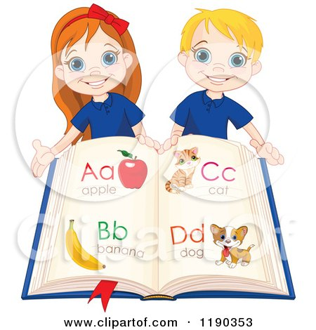 Cartoon of Happy School Children Holding an Alphabet Book - Royalty Free Vector Clipart by Pushkin