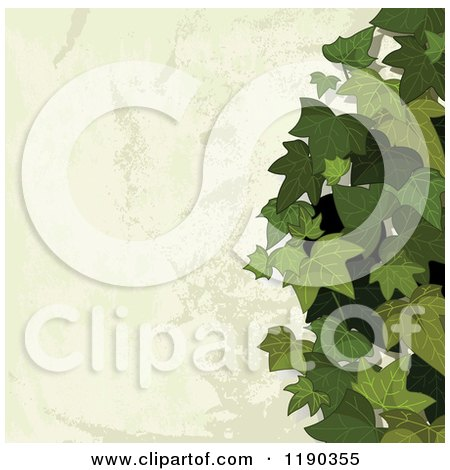 Clipart of a Distressed Stone Background with Ivy - Royalty Free Vector Illustration by Pushkin
