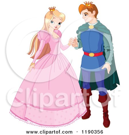 Cartoon of a Happy Blond Princess and Handsome Prince Charming Couple - Royalty Free Vector Clipart by Pushkin