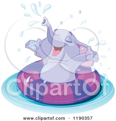Cartoon of a Cute Happy Elephant Swimming and Splasshing in an Inner Tube - Royalty Free Vector Clipart by Pushkin