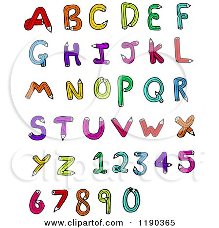 Cartoon of an Alphabet Made of Pencils - Royalty Free Vector Illustration by lineartestpilot