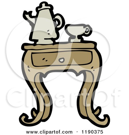 Cartoon of an Old Fashioned Coffee Set - Royalty Free Vector Illustration by lineartestpilot