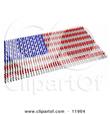 Red Blue And White People Forming An American Flag Clipart Illustration