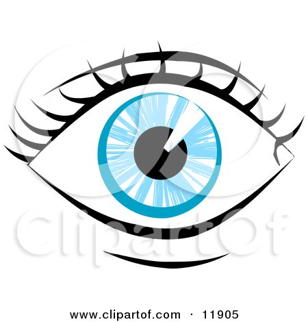 Blue Human Eye and Eyelashes Clipart Illustration by AtStockIllustration