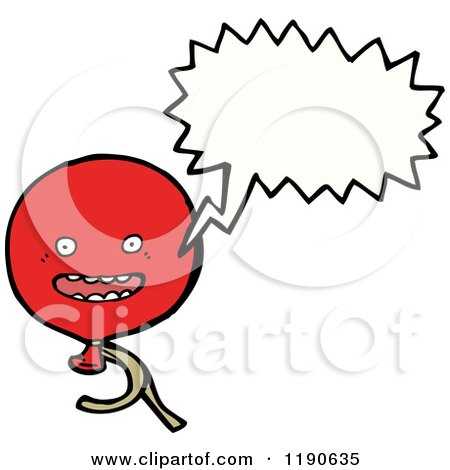 Cartoon of a Red Balloon Speaking - Royalty Free Vector Illustration by lineartestpilot