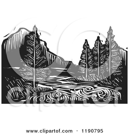 Clipart of a River Mountain and Evergreen Landscape Black and White Woodcut - Royalty Free Vector Illustration by xunantunich