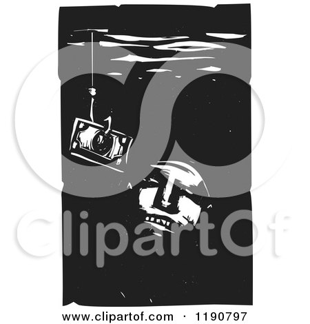 Clipart of a Face Looking at a Dollar on a Hook Underwater Black and White Woodcut - Royalty Free Vector Illustration by xunantunich