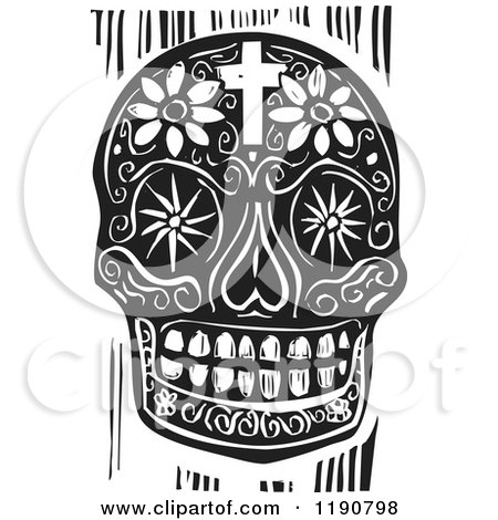 Clipart of a Death Skull with Flowers and a Cross Black and White Woodcut - Royalty Free Vector Illustration by xunantunich