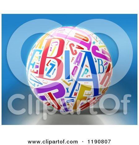 Clipart of a 3d White Sphere with Colorful Letters over Blue - Royalty Free CGI Illustration by MacX