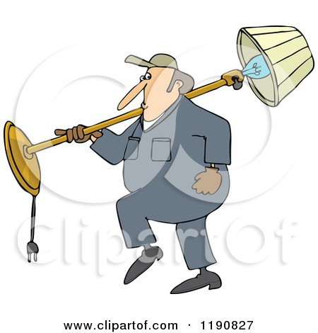 Cartoon of a Mover Man Carrying a Lamp over His Shoulder - Royalty Free Vector Clipart by djart