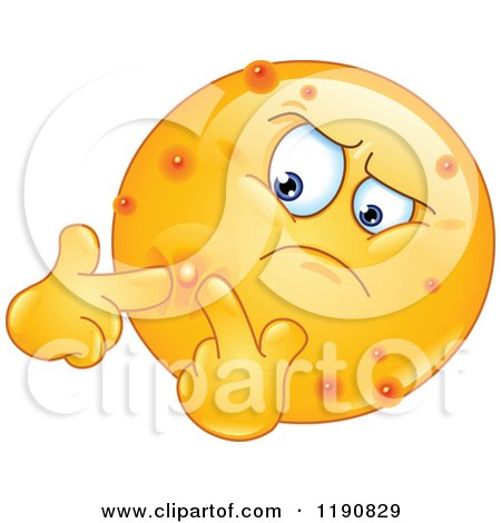 Cartoon of an Acne Ridden Emoticon Popping Pimples - Royalty Free Vector Clipart by yayayoyo