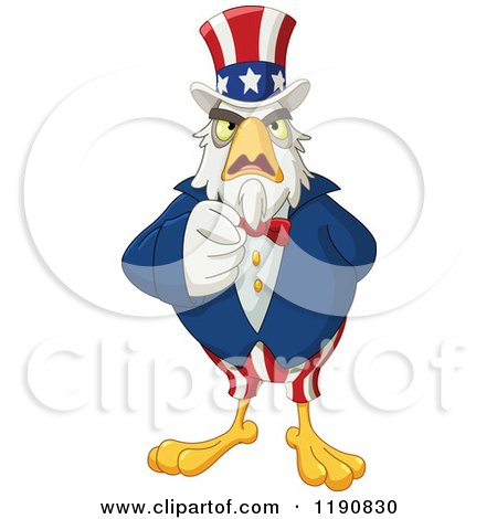 Cartoon of a Pointing Intimidating Uncle Sam Bald Eagle - Royalty Free Vector Clipart by yayayoyo